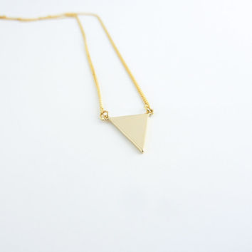 Gold triangle pendant necklace | Simple triangle necklace, Gold geometric necklace, Minimalist pendant necklace, Triangle pendant
