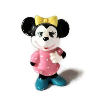 Vintage Minnie Mouse Pie-eyed Porcelain/Ceramic  Figurine Pink Polka Dot Dress