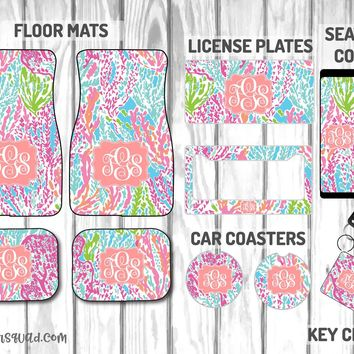 Lilly Pulitzer Let's Cha Cha Car Mat /Plate & Frame / Seat belt cover / Key Chain / Car Coaster / Car Accessory Gift  Set