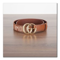 GUCCI 790$ Authentic New Brown Leather Belt With Double G Buckle & Embroideries