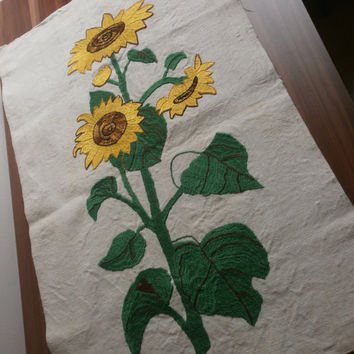 The canvas unique paintings, embroidery floss handmade,decorations for the wall, flower Sunflower, homemade canvas old 150 years, painting