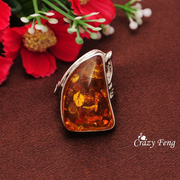 Size 10  New Brand Design Simple Amber Stone Rings for Women/Men Fashion Wedding Ring Jewelry Accessories
