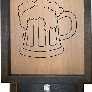 "Wooden Shadow Box Bottle Cap Holder with Bottle Opener 9""x15"" - Beer Mug"