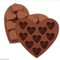 10 Silicone Heart Cake Chocolate Cookie Baking Mould DIY Ice Cube Mold Tray KG12