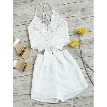 Lace Panel Criss Cross Bow Tie Back Cami Top With Shorts WHITE