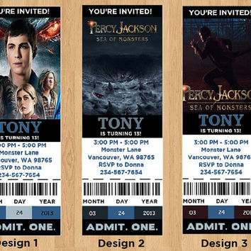 Percy Jackson Sea of Monsters, Percy Jackson Sea of Monsters Movie Ticket, DIY movie ticket