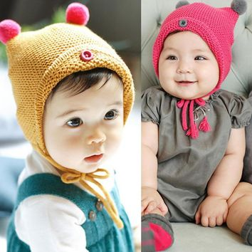 Excellent Quality Cute Baby Toddler Kid Boys Girls Button Fur Ball Knitted Winter Warm Hat Cap Knit Unisex gorro vicky