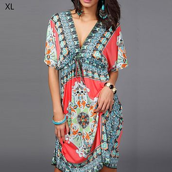 Boho Style Summer Women Dress Sexy Sundresses Deep V Ethnic Floral Print Tunic Beach Dresses Plus Size Casual Silk Dresses