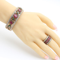 Ethnic Women Resin Carve Bangle Ring Turkish Bride Modelling Concise Vintage Jewelry Sets Round Cuff Bracelet Arabia Wide Ring