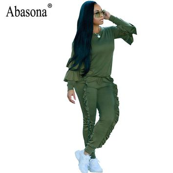 Abasona Women Jumpsuits Rompers Long Sleeve Ruffles Two Piece Set Autumn Winter Women Outfits Casual Party Club Overalls