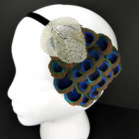 1920s Hair Accessories, Great Gatsby Wedding Headband, Flapper Fascinator, Silver Beaded Peacock Feather Headdress on Velvet Ribbon Headband
