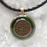 sagittarius necklace: green - mens necklace - man jewelry - astrology - boyfriend gift - zodiac - birthday gift - leather cord - unique gift