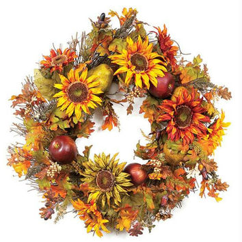2 Artificial Wreaths - Sunflower Wreath