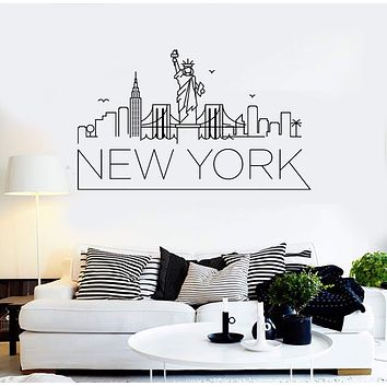 Vinyl Wall Decal New York Lettering City Art Decor Bridge USA Stickers Mural Unique Gift (ig5150)
