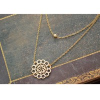 Double Layered Lace Necklace - Gold