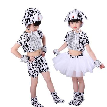Children baby animal spotty dog costume tail tutu skirt Dalmatian boy girl halloween party cosplay costumehat gloves shoes kid