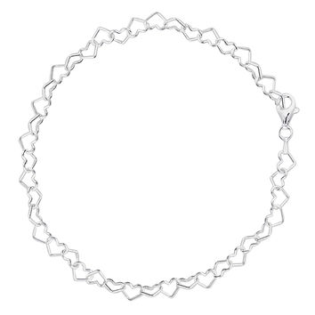 Hearts Link Chain Anklet In Sterling Silver (9, 10 And 11 Inches Lenght)
