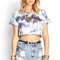 FOREVER 21 Tie-Dyed Graphic Tee White/Grey