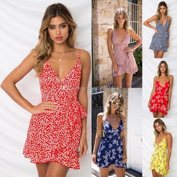 2019 Fashion Bohemian Style Women Summer Print Ruffles Sleeveless Dress Sexy Backless V Neck Bandage A Line Mini Beach Dress