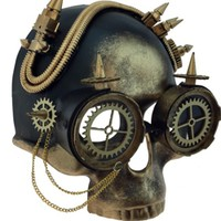 Gold Steampunk / Day of the Dead Skull Mask {gasparilla, pirate}