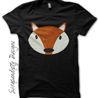 Women's Fox Shirt -Toddler Red Fox Tshirt / Kids Animal Clothes / Cute Childrens Clothes / Fox Black Shirt / Personalized Baby Fox Outfit