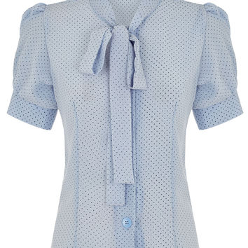 The Bow Blouse - Blue Pinspot