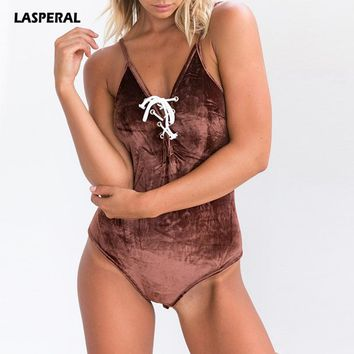 LASPERAL 2018 Strappy Bodysuit Women Sleeveless Summer Beach Swimsuits Cross Bandage Bodycon Playsuits Slim Cami Jumpsuit Femme