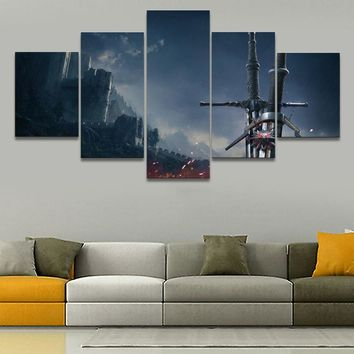 5 Pieces Large Wall Art Home Decor Game The Witcher 3 Wild Hunt Sword Painting Canvas Picture For Living Room Decor Framework