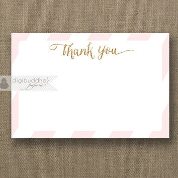 Blush Pink & Gold Glitter Thank You Card INSTANT DOWNLOAD 4x6 Flat Pink Stripe Gatsby Glam Birthday Bridal Shower DIY Printable - Stella