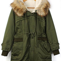 'The Juana' Army Green Fur Hooded Jacket