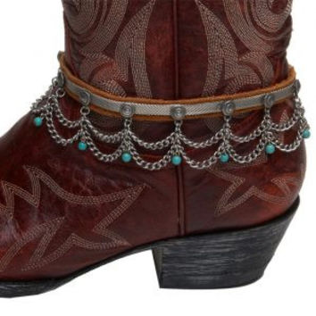 Cowgirl Confetti Womens Leather And Turquoise Beaded Boot Chain