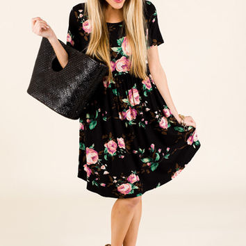 Roses Babydoll Dress, Black