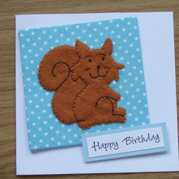 "Handmade Felt Fabric Woodland Animal Squirrel Card 5""x 5"""