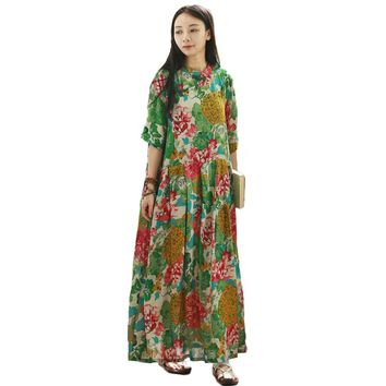 LZJN Plus Size Summer Maxi Dress Long Women Dresses Half Sleeve Mandarin Collar Mori Girl Vintage Robe Loose Vestidos PX1059