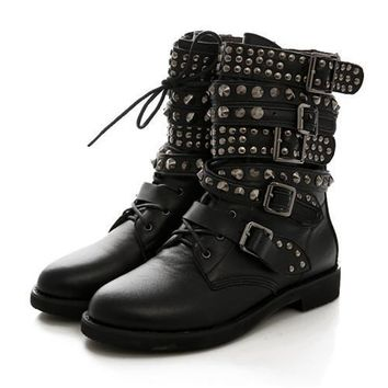Fashion Online Winter Womens Round Toe Lace Up Rivet Studded Low Heels Buckle Military Combat Motocycle Riding Ankle Boots Shoes Plus Size