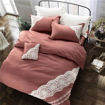 Cool Luxury embroidered bedding set European style lace ruffle duvet cover wrinkle bed sheet coffee bedspread 100%cotton queen kingAT_93_12