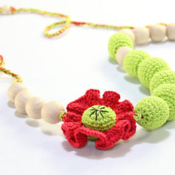 Nursing necklace / Teething necklace / poppy / Crochet Necklace for mom and child / Breastfeeding Jewelry for Mom / Crochet sling necklace