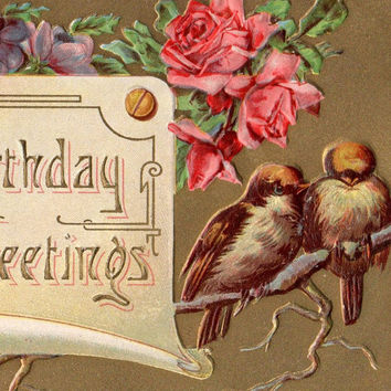 Colorful Antique Birthday Greetings Postcard Early 1900s