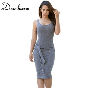 Vestidos casuales de mujer Grey Wine knitted Style Sleeveless Tie Front Bodycon Midi Dress Summer womens dresses LC60519