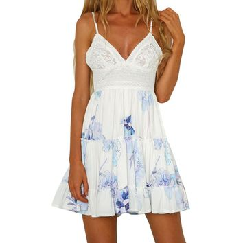 FEITONG Strap Backless Sexy Dress Women Fashion Floral Printed Lace Sleeveless Casual Dresses Summer Beach Sundress Dress 0120
