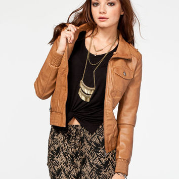 Full Tilt Hooded Womens Washed Faux Leather Jacket Camel  In Sizes