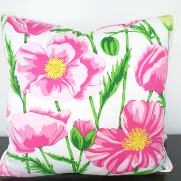 Pink flower pillow cover, floral pillow cover 18x18 , poppy cushion cover green and pink decor, hot pink pillow