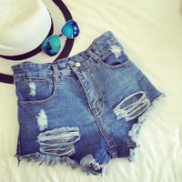 Women's Comfortable High Waist Denim Jeans Shorts