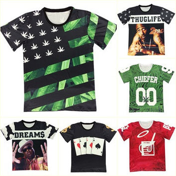 Alisister new fashion men/womens 3d graphic t shirt summer print weed floral/Biggie smalls/Tupac 2Pac t-shirt casual tshirts top