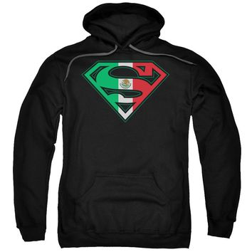 Superman - Mexican Flag Shield Adult Pull Over Hoodie