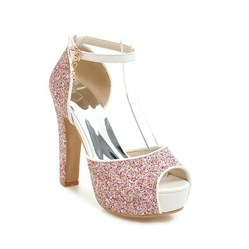 Ankle Strap Sequin Platform Pumps Sandals High Heel Wedding Shoes 7791