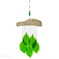 Green Leaves Wind Chime with Driftwood, Glass Windchime, Glass Leaves Chime