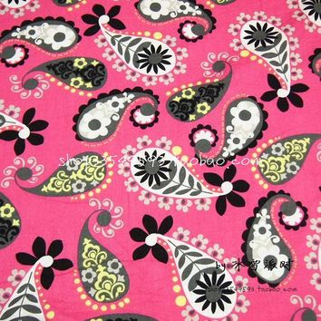 105cm Width Hot Pink Background Paisley Flowers Cotton Fabric for Woman Dresses Clothes Sewing Patchwork DIY-AFCK289