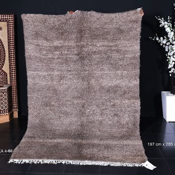 Solid brown wool moroccan rug 6x9