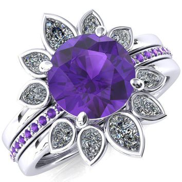 Flora Round Amethyst 1/2 Eternity Accent Amethyst Ring